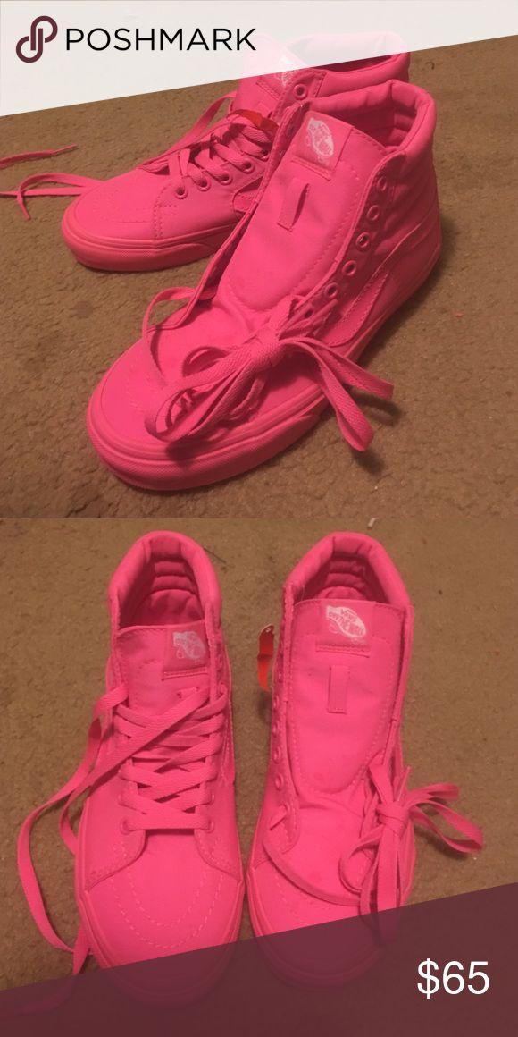 Hot Pink High-Top Vans size 7 hot pink vans, never worn Vans Shoes Sneakers