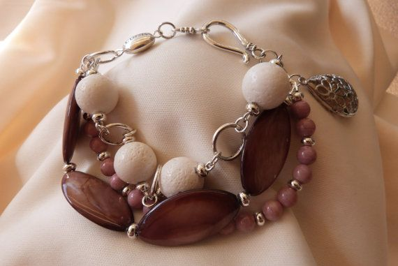 Three-strand bracelet with pink rhodonite by AlluringBracelets