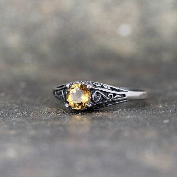 Citrine Ring November Birthstone Ring Antique by ASecondTime