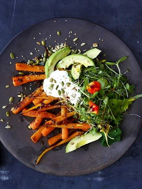 Carrot and Avocado Salad with Crunchy Seeds | Recipe