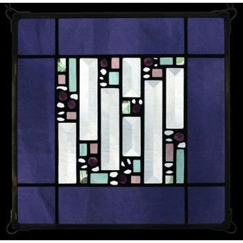 Edel Byrne Violet Antique Border Geometric Stained Glass Panel, Artistic Artisan Designer Window Panels