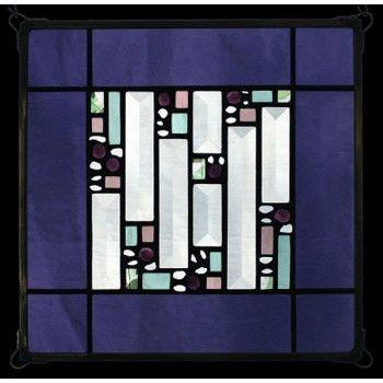 Edel Byrne Violet Antique Border Geometric Stained Glass Panel, Artistic Artisan Designer Window Panels