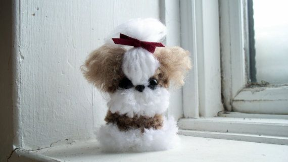 Shih Tzu Yarn Pom-Pom Puppy by YuriandYanvar on Etsy
