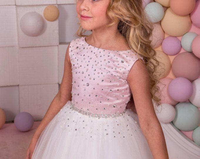 Vestido de niña de las flores color rosa y marfil - vacaciones cumpleaños de Dama de honor boda fiesta marfil y rosa flor tul vestido de niña 14-1058