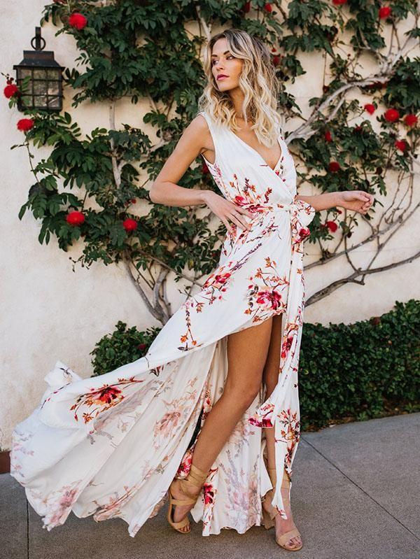 880da08f3d2b Bohemia Floral V-Neck Waisted Maxi Dress