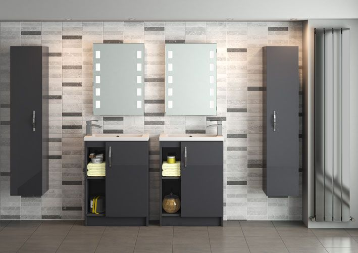 """Design a """"his and hers"""" bathroom with Apollo and combine open shelf and closed door storage. The crisp white basin finish stands out beautifully against the grey gloss fascia."""