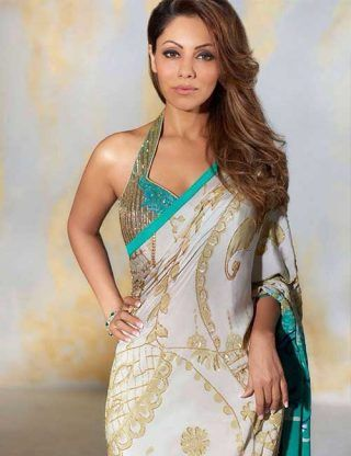 e561f57be91445 Halter Style Embroidery Blouse With Gold Strap For Chiffon And Satin Sarees