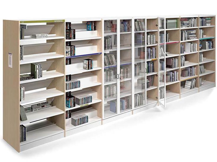 http://spacio.es/mobiliariodeoficina/archivosoficinas/estanteria-class/  Estantería Class para biblioteca.
