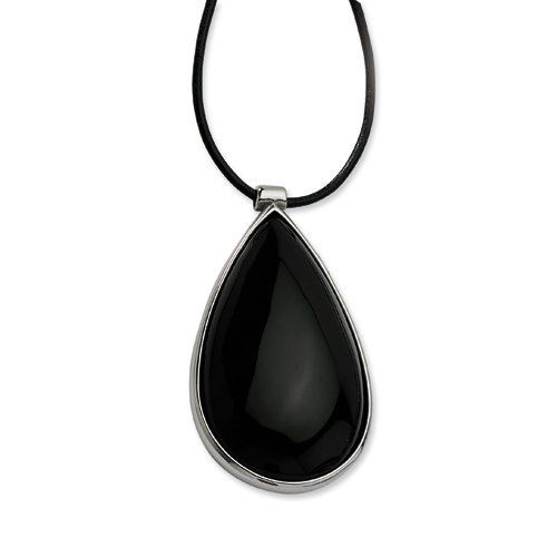 Stainless Steel Black Glass Teardrop 20in W/1.5in Ext Necklace Chisel. $39.50. Save 66% Off!