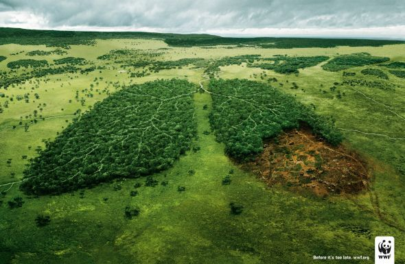 Brand: WWF || Communication objective: awareness -> create/build awarness of brand || WWF draws awareness to a very important issue in a drastic way. Try to draw the audience's attention in a visually impacting way showing the correlation between the trees we cut down and the air we breathe. encourages people to act and donate money