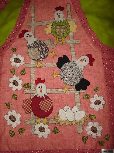 Lots of work to do this applique -- make sure not to spill anything on this apron!