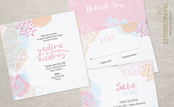Floral Wedding Stationery - Blue and Pink Wedding Invitation - by EstudioPapel