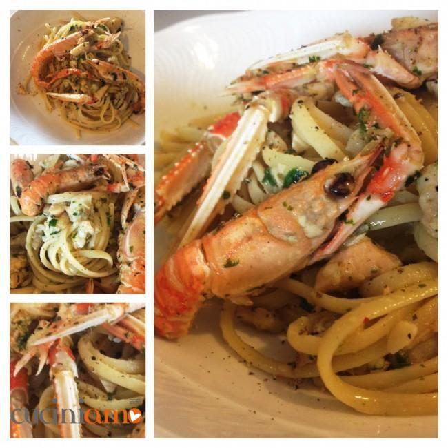 """Bavette di kamut con pesce e scampi al profumo di curry - Per la ricetta clicca qui ---> http://cuciniamo.mammeonline.net/bavette-di-kamut-con-pesce-e-scampi-al-profumo-di-curry/  Se ti piace questa ricetta, condividila ;-) ...if you like this recipe, please ✔ Like ✔ """"Share"""" ✔ Comment ✔ Repost ✔Friend/follow Thank You! ♥"""