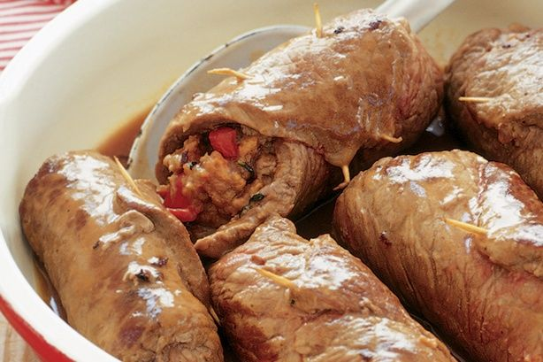 Beef olives are rolled and stuffed beef steaks. This tasty version has a crunchy pine nut and semi-dried tomato stuffing.