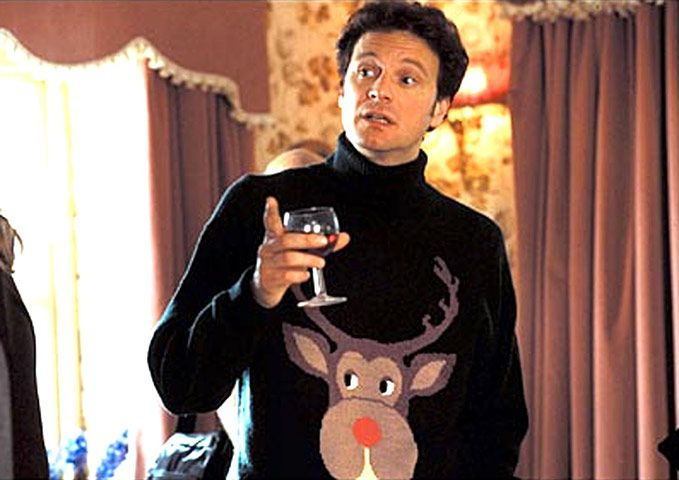 "Ha Ha Ha ""Only one romantic comedy can claim a plot that's sparked by a garish Christmas pullover. In Bridget Jones's Diary, filmed in 2001 and based on Helen Fielding's 1996 novel, protagonist Bridget (Renée Zellweger) encounters Mark Darcy (Colin Firth) at a family party. He's wearing a woolly rollneck decorated with a giant reindeer. It's ugly enough to squish Bridget's nascent interest in Mark. ... """