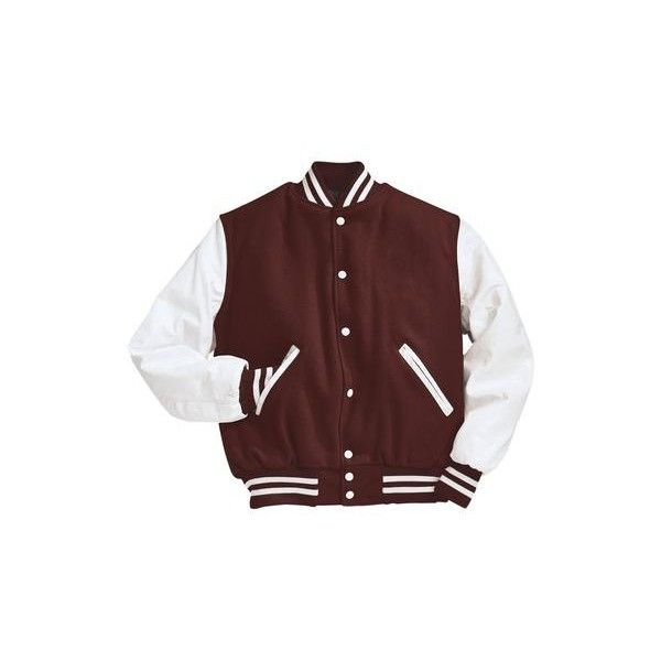 Maroon and White Varsity Letterman Jacket ($200) ❤ liked on Polyvore featuring outerwear, jackets, varsity jacket, college jacket, white letterman jacket, leather sleeve varsity jacket and varsity style jacket