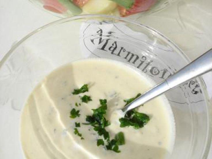 yaourt nature, moutarde, Condiments, huile d'olive, huile de colza, sel, ciboulette