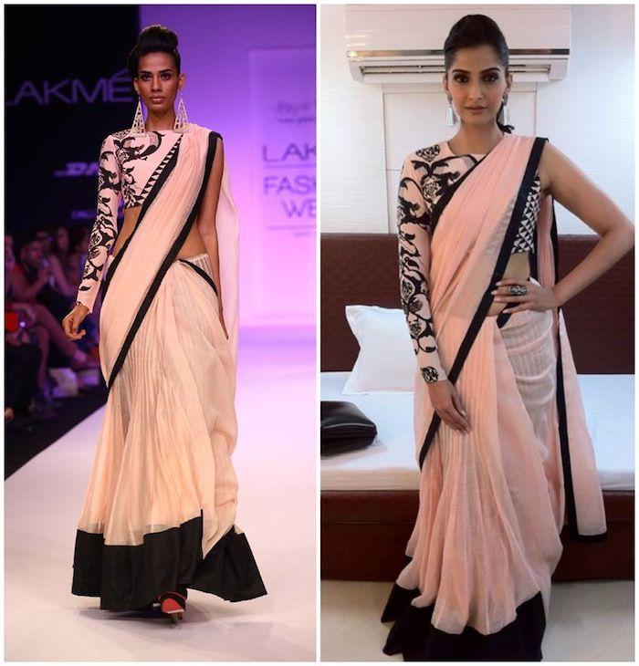 Edgy sari is a soft blush shade by Payal Singhal
