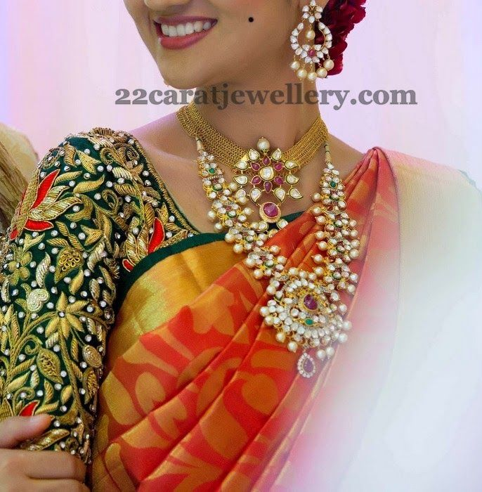 Jewellery Designs: Bride in Kundan Necklace Chandbalis