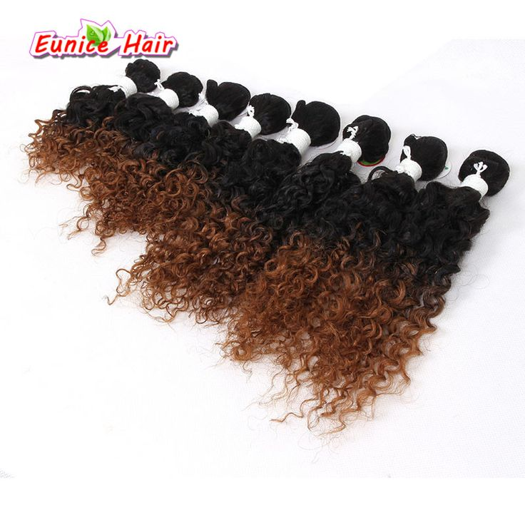 One Pack For Full Head 8inch/8-14inch 8pcs/pack Ombre Jerry Curly Hair Weave bundles Colored Deep Wave Sew in hair extensions