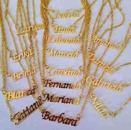 colar personalizado nome banho de ouro 18k - presente
