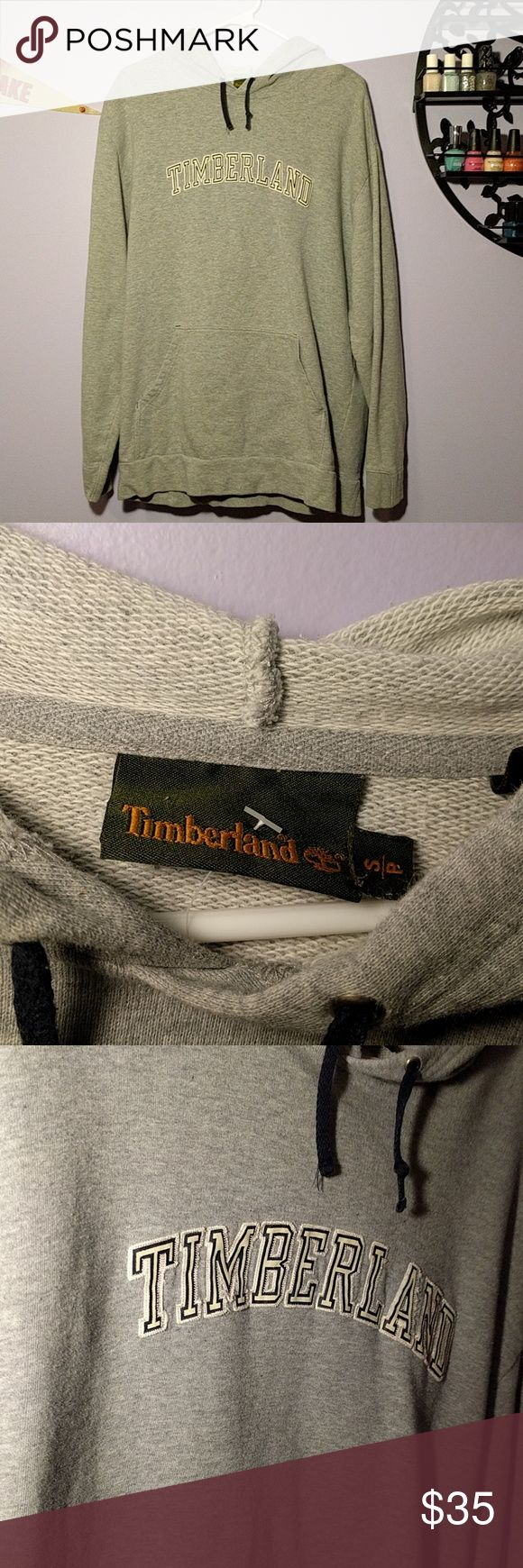 """Grey Timberland Hoodie *Grey Timberland Hoodie *Great casual look for men *Perfect for women looking for a long sweatshirt to pair with leggings *Used, in great condition *23"""" bust, 27"""" length 24"""" arm  Please feel free to make offers or ask questions!  xoxo Karlynn Timberland Shirts Sweatshirts & Hoodies"""