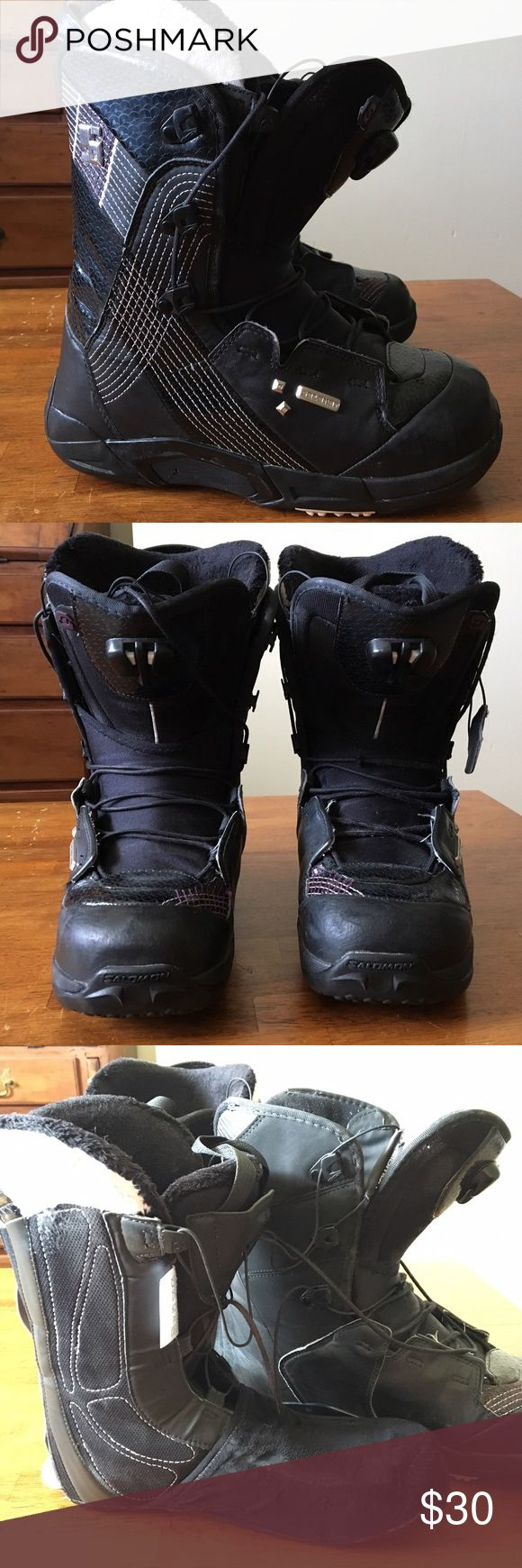Salomon Snowboard Boots Women's 9 Used. See picture of the lining. I've worn these a couple of years but there's still life in them. One lace has frayed but still works great. The boots and linings both have their own adjustment cords. Salomon Shoes Winter & Rain Boots