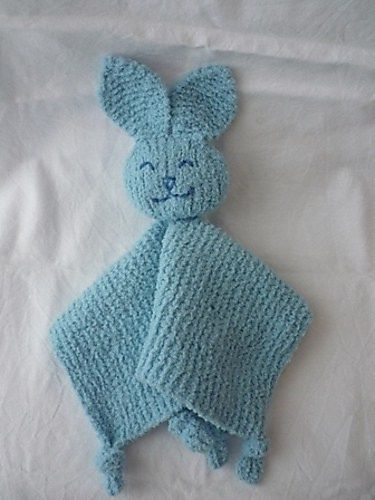 Free knitting pattern for Bunny BBF  - Avadore designed this bunny BBF = Baby's Best Friend with tied off paws. Also known as blanket buddy, lovey, lovie, comfort blanket, blanket toy, blankie, security blanket, woobie, cuddle.