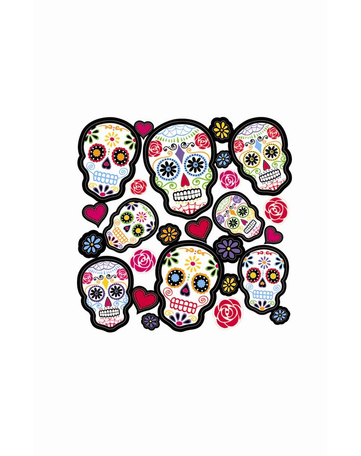 Sugar Skull Decals at Spirit Halloween - Enhance your haunted house decor with some spunky Sugar Skull Decals! These fun decals are a perfect decorating staple to involve your little witch or warlock in the Halloween scene. Features one sheet of neon sugar skull decals, hearts and flowers that will make your house pop this Halloween. Get these eye-catching decals for only $3.99