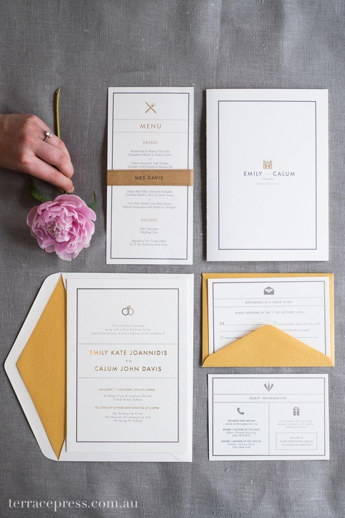 Emily & Calum's classic gold-foiled suite #letterpress #terracepress #wedding #invitation #stationery #weddingsuite #invitation #orderofservice