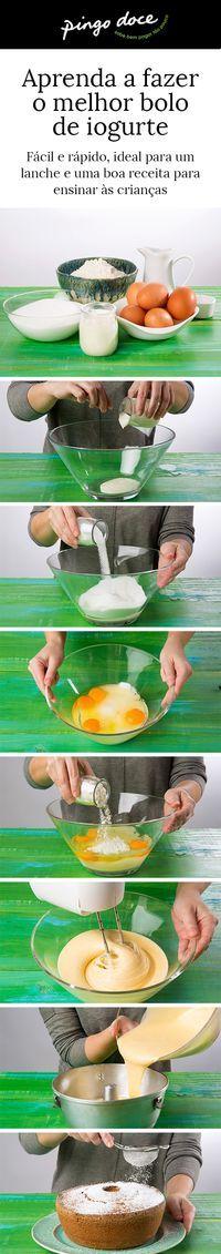 Bolo de iogurte - uma sobremesa fácil e que fica pronta num instante. Os passos para fazer.