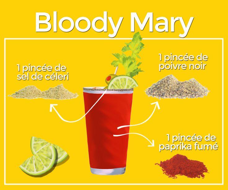 Bloody Mary - Pour préparer un Bloody Mary, il vous suffit de verser 1 1/2  once de vodka, 4 onces de jus de tomate, un trait de jus de lime, un trait de sauce Worcestershire, 1 ou 2 gouttes de Tabasco, du sel de céleri et du poivre noir sur quelques glaçons puis de bien mélanger.   Transférer ensuite dans un verre préalablement givré avec de la lime et du sel de céleri. Décorer le verre à votre goût puis savourer!