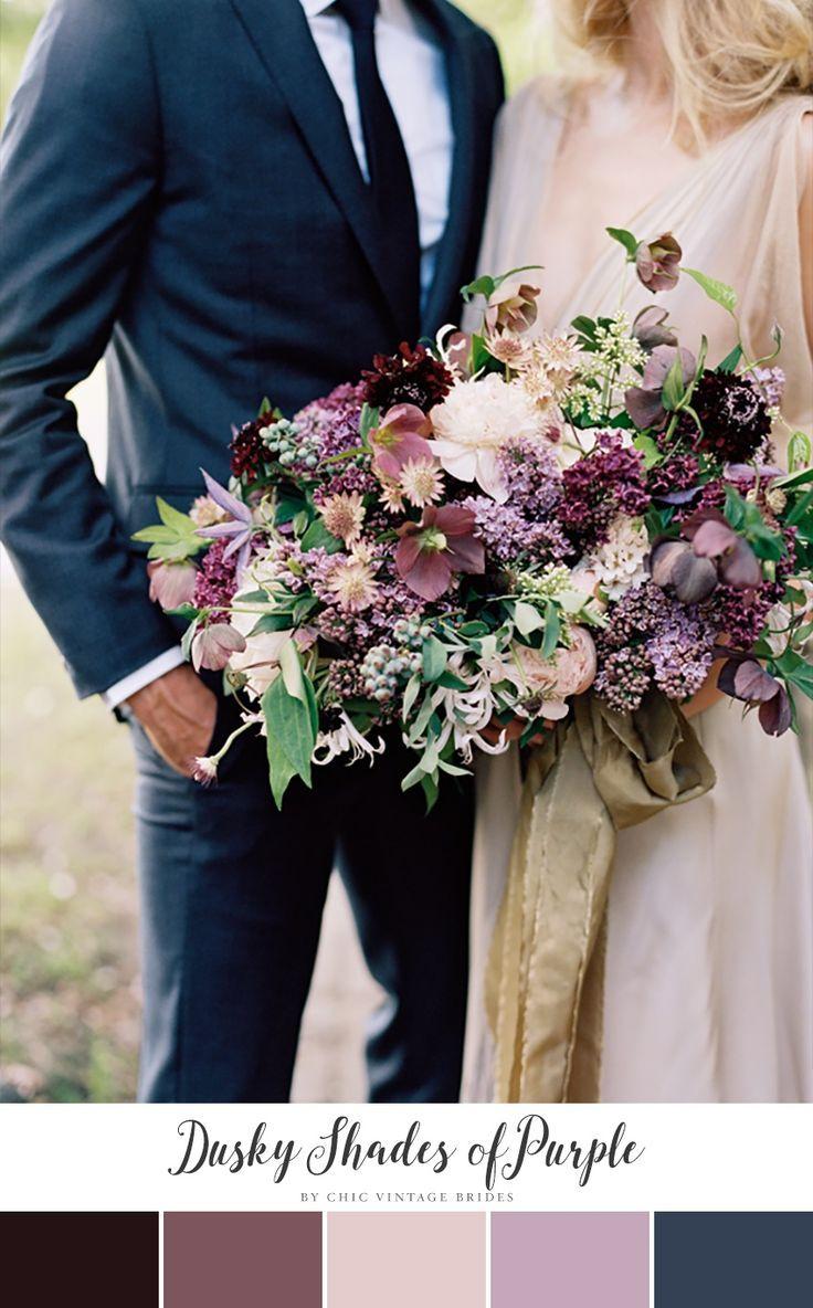 Dusky Shades of Purple Fall Wedding Colour Palette || Wedding Colours || Purple Bridal Bouquet