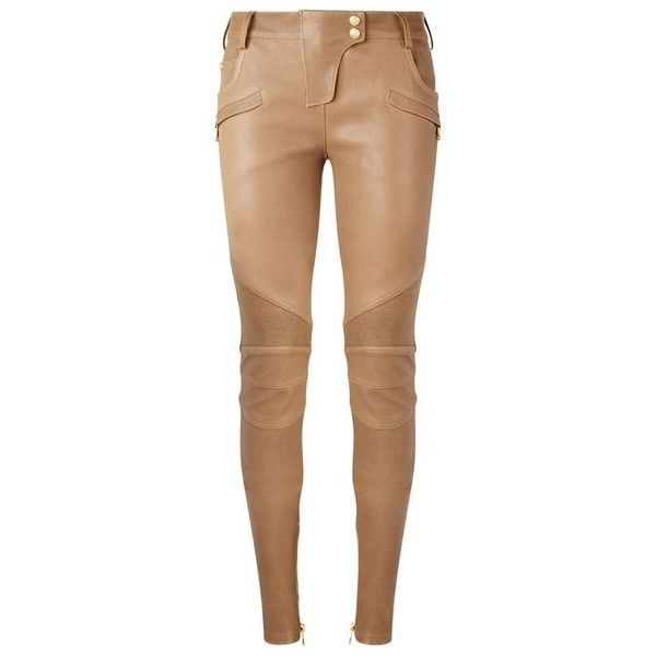 Balmain Leather Skinny Biker Trousers ($2,710) ❤ liked on Polyvore featuring pants, bottoms, jeans, calças, trousers, zipper pants, beige pants, bike pants, skinny trousers and leather zipper pants
