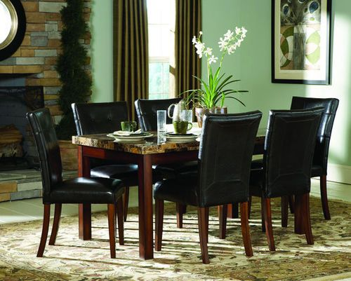 Homelegance 7pc 36x60 Brn Marble Dining Table Set