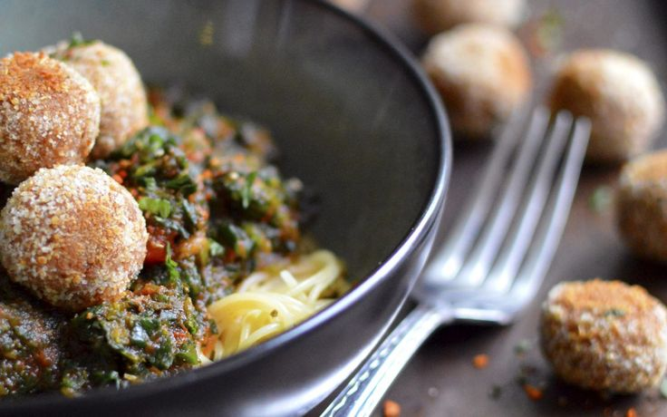 Refried Beanballs With Pasta and Spinach [Vegan]   One Green Planet