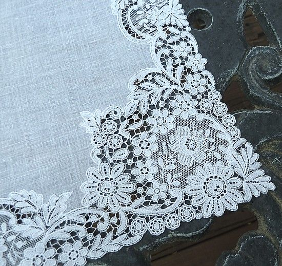~1900-20s chemical lace and linen wedding handkerchief.