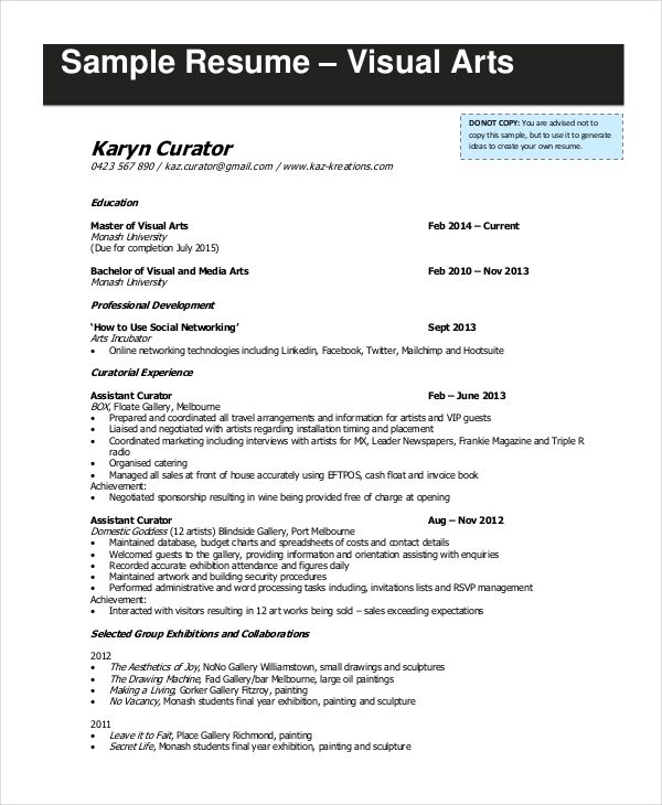 Visual Artist Cv Template Kinisrsd7