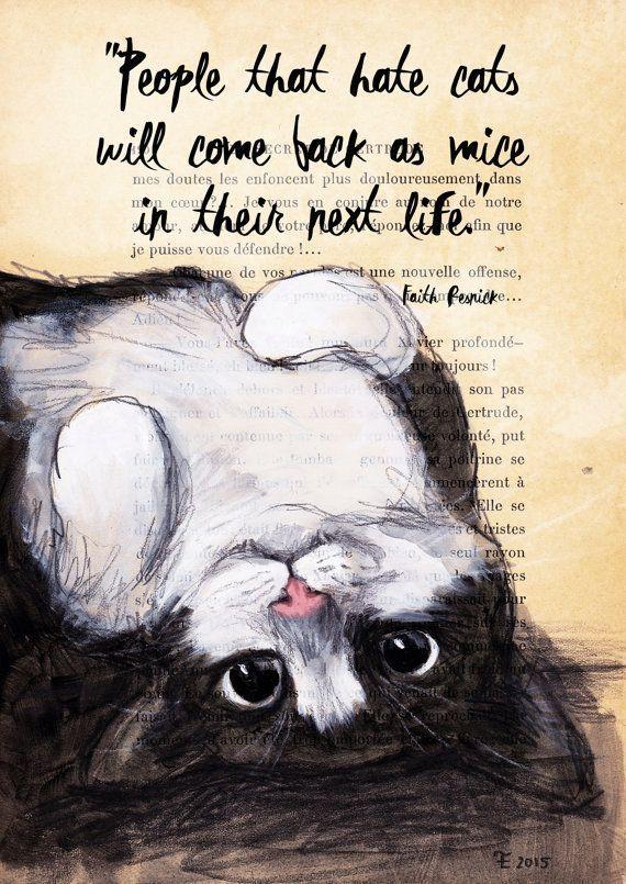 Offerte afdrukken-Cat illustratie-Art Print-Cat door EvaFialka #Cats