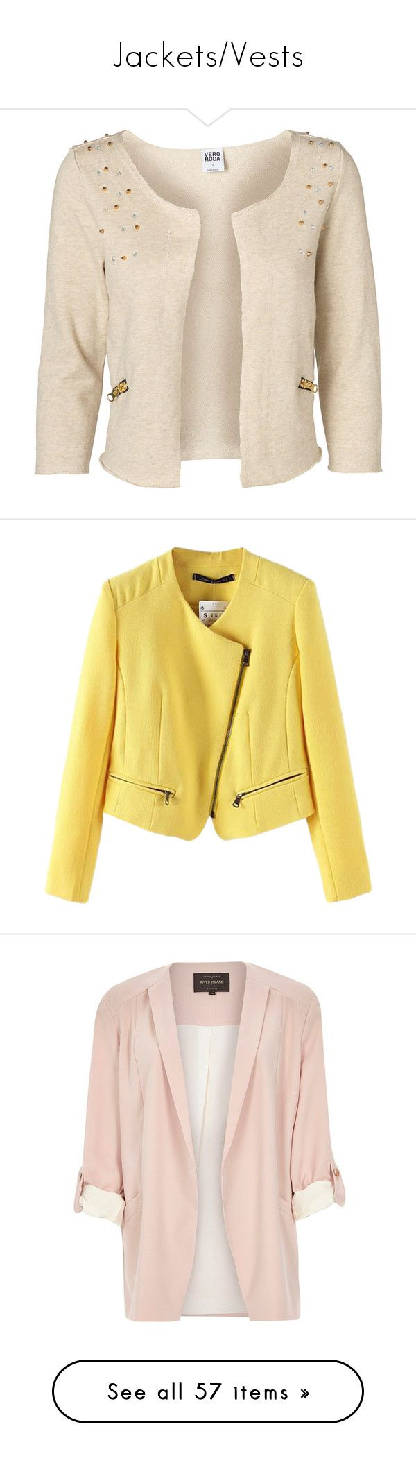 """Jackets/Vests"" by rosky ❤ liked on Polyvore featuring outerwear, jackets, blazers, cardigans, casacos, oatmeal, 3/4 sleeve blazer, pink studded jacket, vero moda and three quarter sleeve blazer"