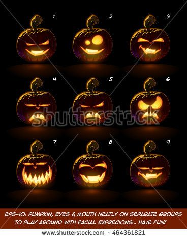 Vector icons of a lighten Jack O Lantern glowing in the dark in 9 vampire expressions. Each expression on separate Layer. Pumpkin, Eyes, Mouth, Glow and Floor Glow on separate groups.