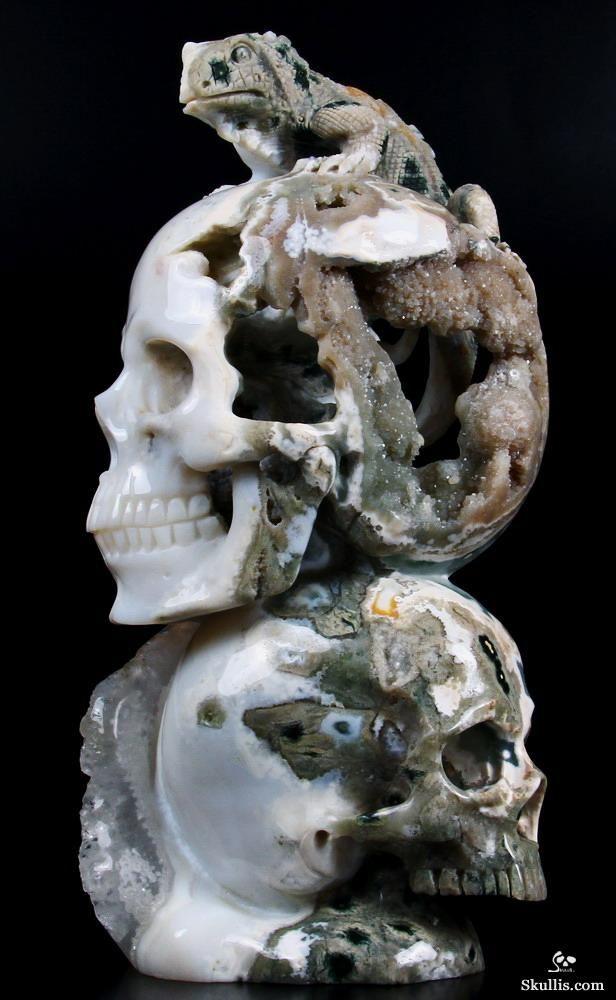 "Ocean Jasper Geode Carved Crystal Skulls with Lizard Sculpture - 4.6 x 3.6 x 9.3"" (11.6 x 9.2 x 23.5 cm) - 4.5 lb (2.04 kg) - Ocean Jasper from Madagascar"