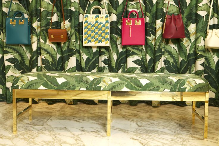 Sophie Hulme Pop Up at Harrods #PopUp #InteriorDesign #Palm #Banana #Harrods #VM #RetailDesign #Fashion #Accessories #SophieHulme #Gold