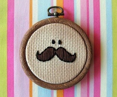 Mr. Moustache - Hand-Embroidered Wall Decor