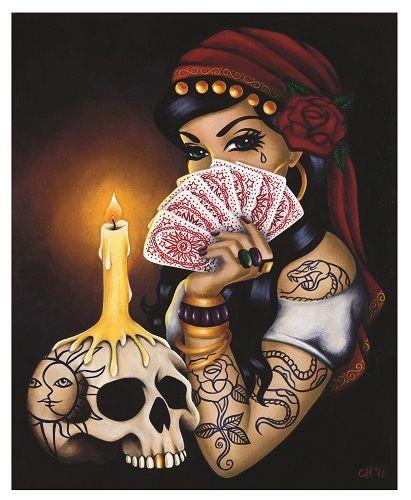 'Gitana' giclee print Gypsy Tattoo Skull Tarot