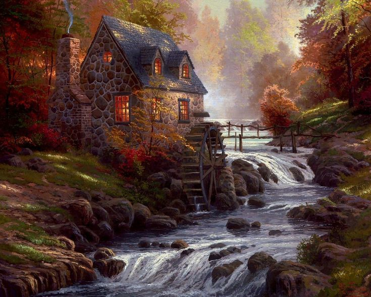 Thomas Kinkade, sumday I hope to buy an actual painting of his, I love his paintings.