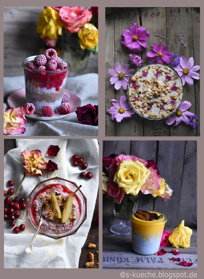 5 Variationen Chia Pudding. Für Frühstück,Joghurt, Smoothies, Desserts. Gesund und enorm vielseitig.