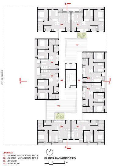 3º Lugar no concurso CODHAB-DF para edifícios de uso misto em Santa Maria,Pavimento Tipo. Image Cortesia de AGA – Alexandre Gonçalves Arquitetura
