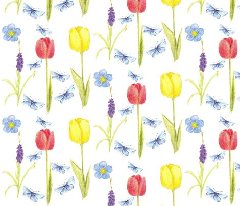 Tulips and Butterflies fabric by countrygarden on Spoonflower - custom fabric