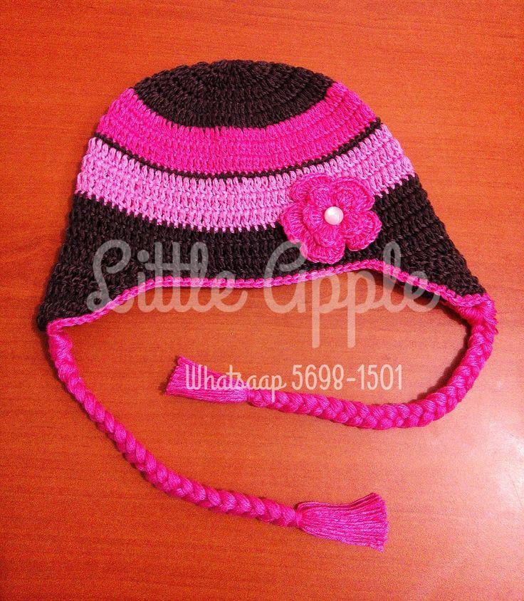 gorro a crochet con orejeras y trenzas #gorros #crochet #niñas #bebes #mamaehija